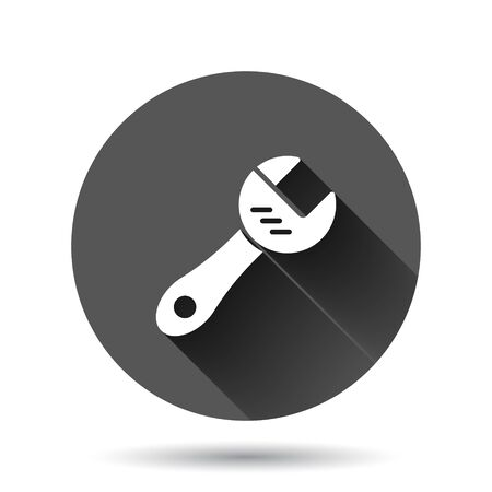 Wrench icon in flat style. Spanner key vector illustration on black round background with long shadow effect. Repair equipment circle button business concept. Illustration