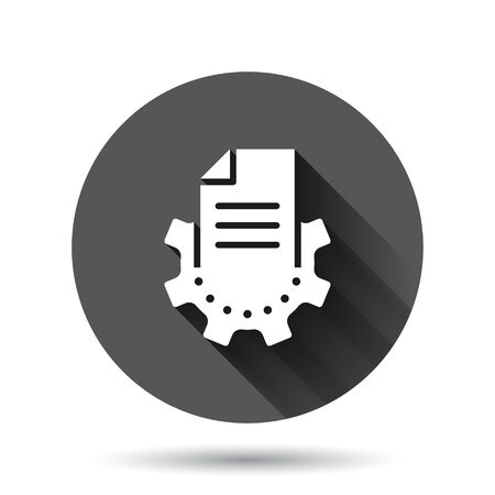 Document with gear icon in flat style. Big data processing vector illustration on black round background with long shadow effect. Paper sheet software solution circle button business concept.