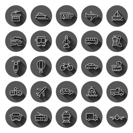 Transport icon set in flat style. Car vector collection illustration on black round background with long shadow effect. Shipping transportation circle button business concept.