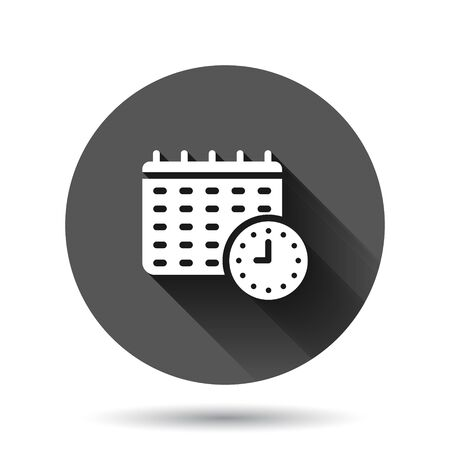 Calendar with clock icon in flat style. Agenda vector illustration on black round background with long shadow effect. Schedule time planner circle button business concept.