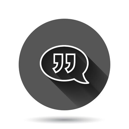 Speak chat icon in flat style. Speech bubble vector illustration on black round background with long shadow effect. Team discussion circle button business concept. 向量圖像