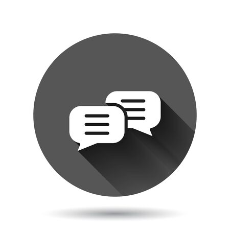 Speak chat sign icon in flat style. Speech bubbles vector illustration on black round background with long shadow effect. Team discussion circle button business concept.