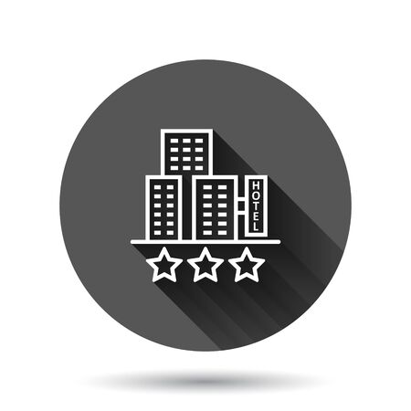 Hotel 3 stars sign icon in flat style. Inn building vector illustration on black round background with long shadow effect. Hostel room circle button business concept.