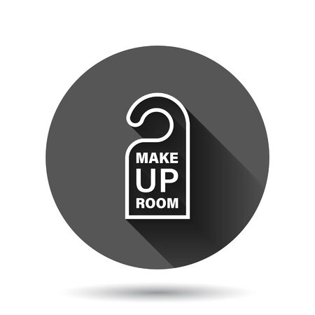 Make up room hotel sign icon in flat style. Inn vector illustration on black round background with long shadow effect. Hostel clean circle button business concept.