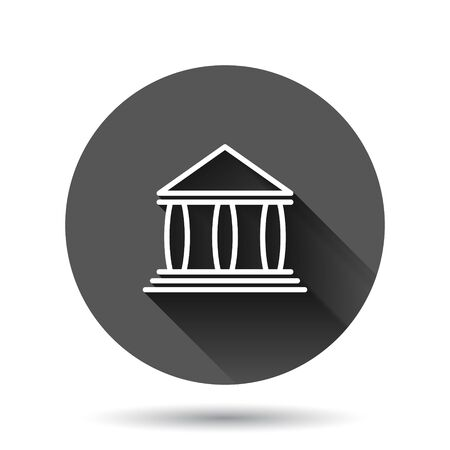 Bank building icon in flat style. Government architecture vector illustration on black round background with long shadow effect. Museum exterior circle button business concept.