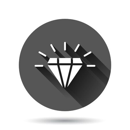 Diamond gem icon in flat style. Gemstone vector illustration on black round background with long shadow effect. Jewelry brilliant circle button business concept. Ilustrace