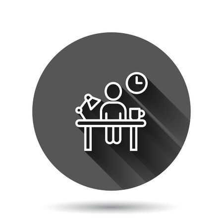 People with table lamp and clock icon in flat style. Coworking space vector illustration on black round background with long shadow effect. Freelancer workplace circle button business concept.