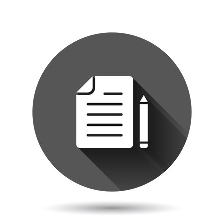 Document note with pen icon in flat style. Paper sheet pencil vector illustration on black round background with long shadow effect. Notepad document circle button business concept. Иллюстрация