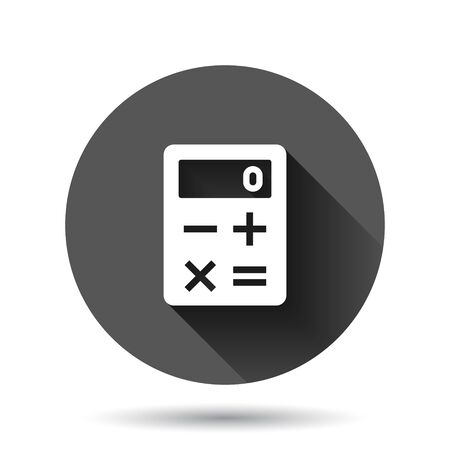 Calculator icon in flat style. Calculate vector illustration on black round background with long shadow effect. Calculation circle button business concept.
