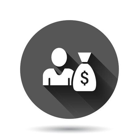 People with money bag icon in flat style. Businessman bag vector illustration on black round background with long shadow effect. Bank circle button business concept.