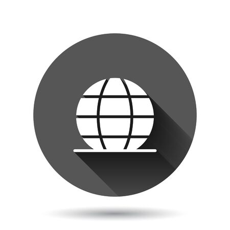 Earth planet icon in flat style. Globe geographic vector illustration on black round background with long shadow effect. Global communication circle button business concept.