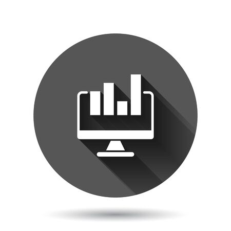 Website analytics icon in flat style. SEO data vector illustration on black round background with long shadow effect. Computer diagram circle button business concept.