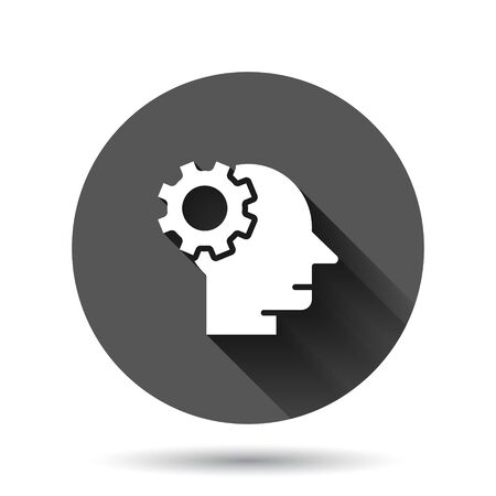 Human head with cogwheel icon in flat style. Technology progress vector illustration on black round background with long shadow effect. Face and gear circle button business concept.
