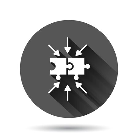 Puzzle jigsaw icon in flat style. Solution compatible vector illustration on black round background with long shadow effect. Combination circle button business concept. Ilustração