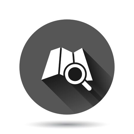 Map with magnifier icon in flat style. Gps navigation vector illustration on black round background with long shadow effect. Locate position circle button business concept.