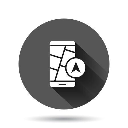 Smartphone map icon in flat style. Mobile phone gps navigation vector illustration on black round background with long shadow effect. Locate pin position circle button business concept.