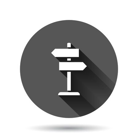 Crossroad signpost icon in flat style. Road direction vector illustration on black round background with long shadow effect. Roadsign circle button business concept.