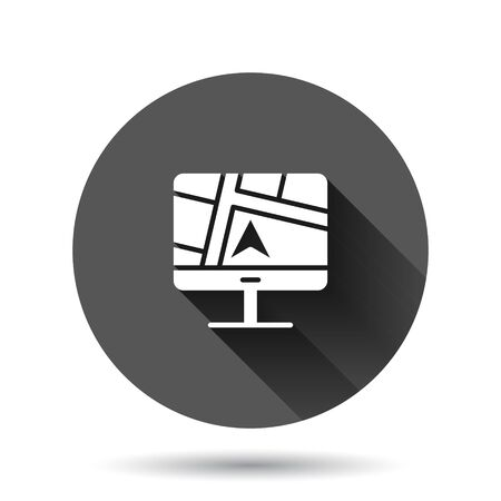 Computer navigation icon in flat style. Monitor pin gps vector illustration on black round background with long shadow effect. City area location circle button business concept.