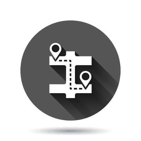 Map pin icon in flat style. gps navigation vector illustration on black round background with long shadow effect. Locate position circle button business concept.