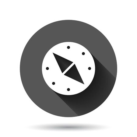 Compass icon in flat style. Navigation equipment vector illustration on black round background with long shadow effect. Journey direction circle button business concept. Иллюстрация