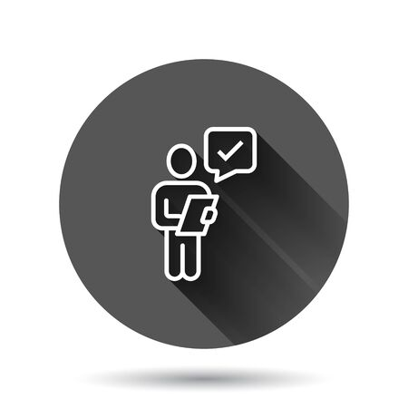 Organization management icon in flat style. People with check mark vector illustration on black round background with long shadow effect. Businessman circle button business concept.
