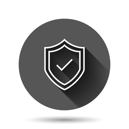 Shield with check mark icon in flat style. Protect vector illustration on black round background with long shadow effect. Checkmark guard circle button business concept. Иллюстрация