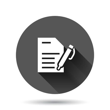 Blogging icon in flat style. Document with pen vector illustration on black round background with long shadow effect. Content circle button business concept. Иллюстрация
