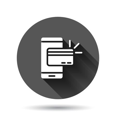 Smartphone paying icon in flat style. Nfc credit card vector illustration on black round background with long shadow effect. Banking circle button business concept. Иллюстрация