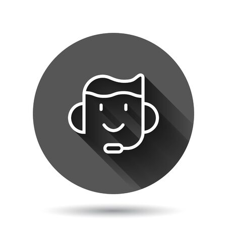 Helpdesk icon in flat style. Headphone vector illustration on black round background with long shadow effect. Chat operator circle button business concept.