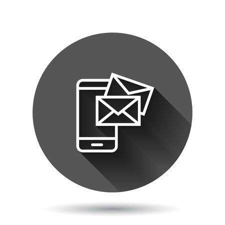 Message on smartphone icon in flat style. Mail with phone vector illustration on black round background with long shadow effect. Envelope circle button business concept.
