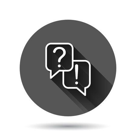 Question and answer icon in flat style. Dialog speech bubble vector illustration on black round background with long shadow effect. Forum chat circle button business concept. Иллюстрация