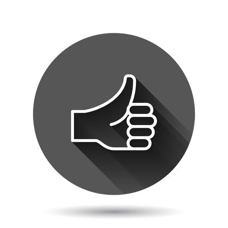 Thumb up icon in flat style. Like gesture vector illustration on black round background with long shadow effect. Approval mark circle button business concept.