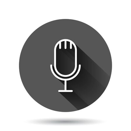 Microphone icon in flat style. Studio mike vector illustration on black round background with long shadow effect. Audio record circle button business concept. Иллюстрация