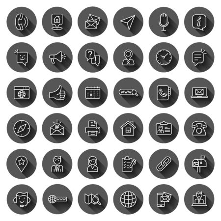 Contact us icon set in flat style. Mobile communication vector illustration on black round background with long shadow effect. Phone call circle button business concept. Иллюстрация