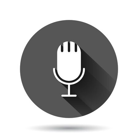 Microphone icon in flat style. Studio mike vector illustration on black round background with long shadow effect. Audio record circle button business concept. Фото со стока - 149812279