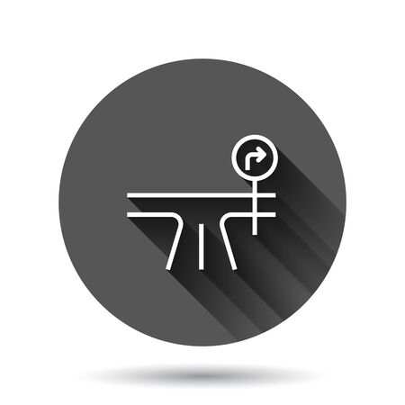 Crossroad icon in flat style. Road direction navigation vector illustration on black round background with long shadow effect. Locate pin position circle button business concept.