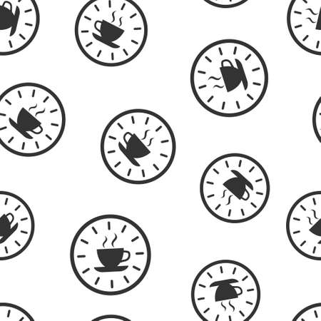 Coffee break icon in flat style. Clock with tea cup vector illustration on white isolated background. Breakfast time seamless pattern business concept.