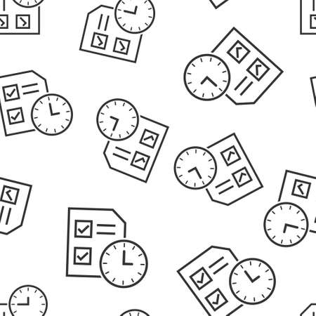 Contract time icon in flat style. Document with clock vector illustration on white isolated background. Deadline seamless pattern business concept. Ilustrace