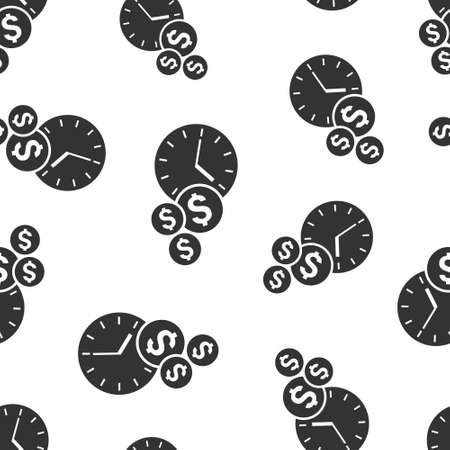 Time is money icon in flat style. Project management vector illustration on white isolated background. Deadline seamless pattern business concept.