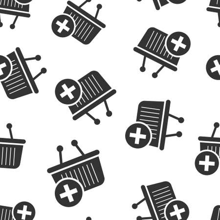 Add to cart icon in flat style. Shopping vector illustration on white isolated background. Basket with plus sign seamless pattern business concept. Vettoriali