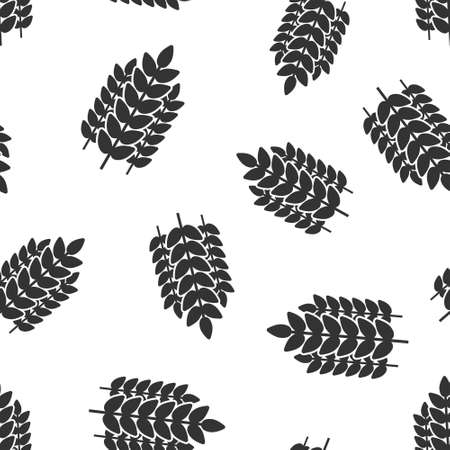 Wheat icon in flat style. Barley vector illustration on white isolated background. Harvest stem seamless pattern business concept.