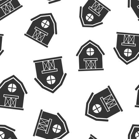 Barn icon in flat style. Farm house vector illustration on white isolated background. Agriculture storehouse seamless pattern business concept. 向量圖像