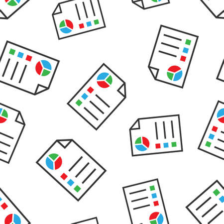 Document icon in flat style. Report vector illustration on white isolated background. Paper sheet seamless pattern business concept.