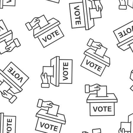 Vote icon in flat style. Ballot box vector illustration on white isolated background. Election seamless pattern business concept.