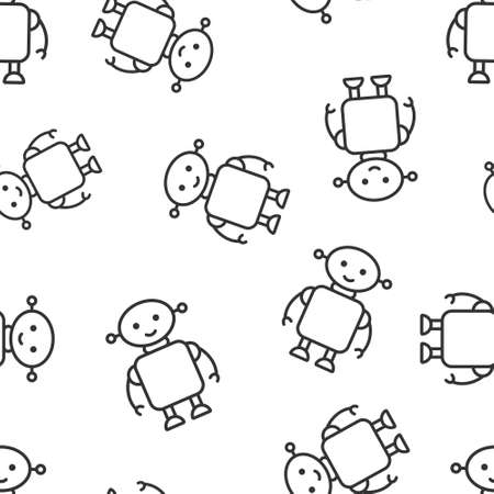 Cute robot chatbot icon in flat style. Bot operator vector illustration on white isolated background. Smart chatbot character seamless pattern business concept. Иллюстрация