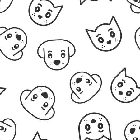 Dog and cat icon in flat style. Animal head vector illustration on white isolated background. Cartoon funny pet seamless pattern business concept.
