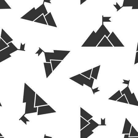 Mission champion icon in flat style. Mountain vector illustration on white isolated background. Leadership seamless pattern business concept.