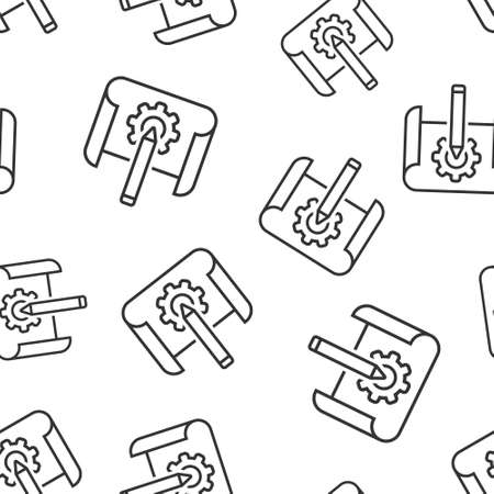 Prototype icon in flat style. Startup vector illustration on white isolated background. Model development seamless pattern business concept. Vectores