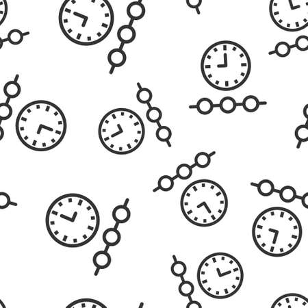 Timeline icon in flat style. Progress vector illustration on white isolated background. Diagram seamless pattern business concept. Archivio Fotografico - 150611991
