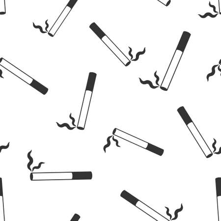Cigarette icon in flat style. Smoke vector illustration on white isolated background. Nicotine seamless pattern business concept.  イラスト・ベクター素材